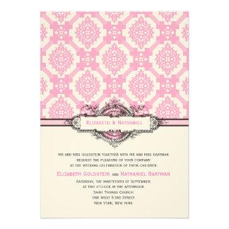 Ornate Tiles Wedding Invitation Pink