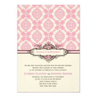 Ornate Tiles Wedding Invitation Pink