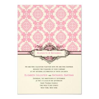 "Ornate Tiles Wedding Invitation Pink 5"" X 7"" Invitation Card"