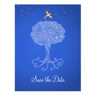 Ornate Tree of Life Princess Blue Save the Date Postcard
