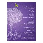 Ornate Tree of Life Purple Bat Mitzvah Personalised Invites