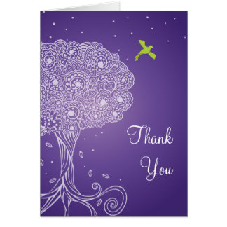 Ornate Tree of Life Purple Bat Mitzvah Thank You Note Card