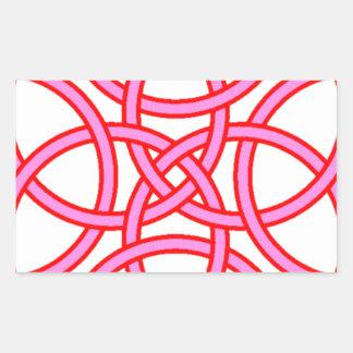Ornate Triquetra Cross in Pink Red Rectangular Sticker