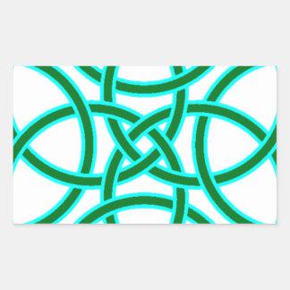 Ornate Triquetra Cross in Sage Bright Green Rectangular Sticker