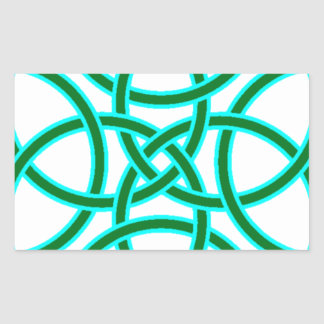 Ornate Triquetra Cross in Sage Bright Green Rectangle Stickers