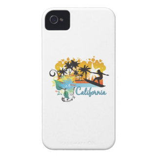 Ornate Tropical Paradise with Surfer CALIFORNIA iPhone 4 Cases