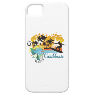 Ornate Tropical Paradise with Surfer CARIBBEAN iPhone 5 Cases