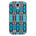 Ornate Turquoise Red Fractal Abstract Galaxy S4 Covers