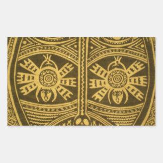 Ornate, unique, detailed, artsy, tribal mask rectangular sticker