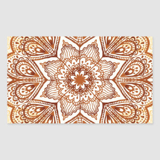 Ornate vintage beige pattern rectangular stickers