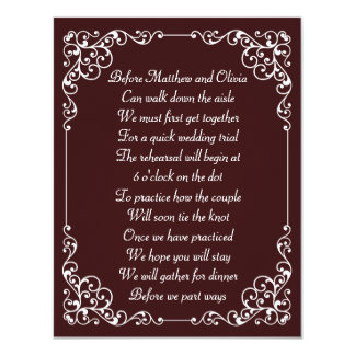 Ornate Vintage Rehearsal Dinner Poem Invites