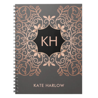 Ornate Vintage Rose Gold Monogram Notebook