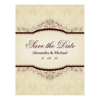 Ornate Vintage Save the Date Postcards