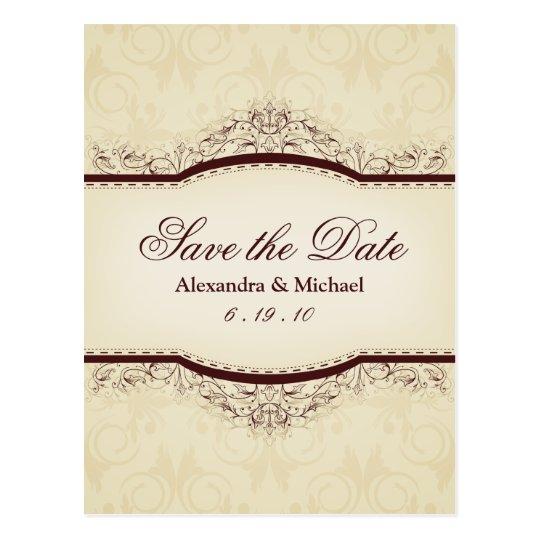 Ornate Vintage Save the Date Postcards
