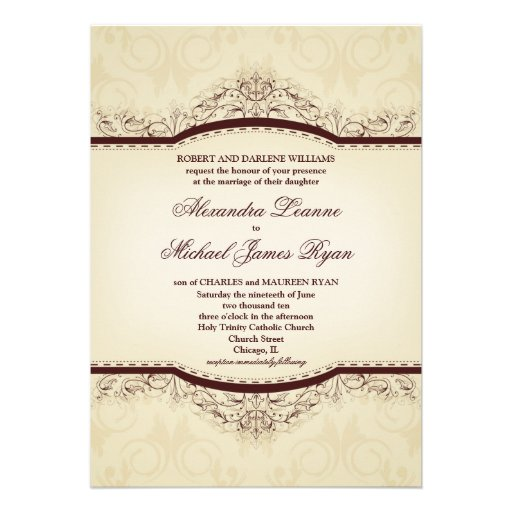 Ornate Vintage Wedding Invitations 5 X 7 Invitation Card
