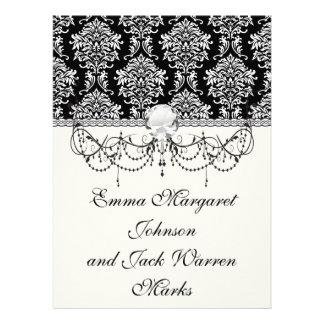 ornate white and black damask classic custom invitations