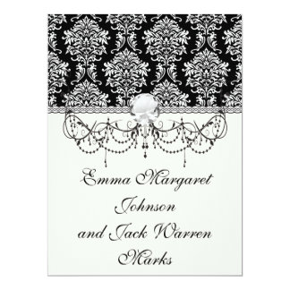 ornate white and black damask classic custom invitations