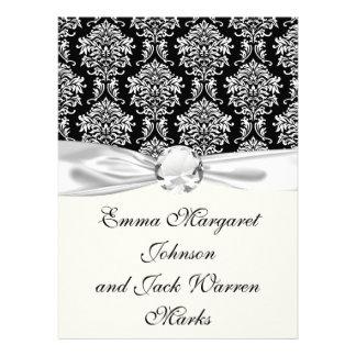 ornate white and black damask classic invite