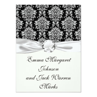 "ornate white and black damask classic 6.5"" x 8.75"" invitation card"