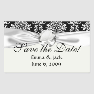 ornate white and black damask classic rectangle stickers