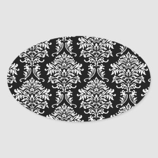 ornate white and black damask classic sticker
