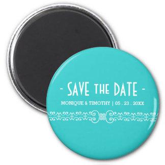 Ornate White Belt - Eggshell Blue Save the Date Fridge Magnets