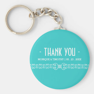 Ornate White Belt - Eggshell Blue Thank You Basic Round Button Key Ring