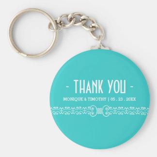 Ornate White Belt - Eggshell Blue Thank You Basic Round Button Key Ring