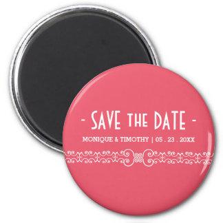 Ornate White Belt - Pink Blush Save the Date Fridge Magnet
