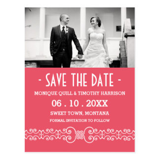 Ornate White Belt - Pink Blush Save the Date Postcard