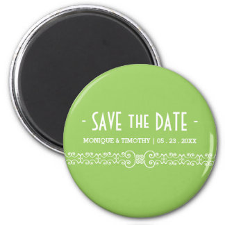 Ornate White Belt -Spring Green Save the Date Magnet