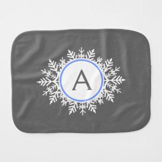 Ornate White Bright Blue Snowflake Monogram Gray Burp Cloth