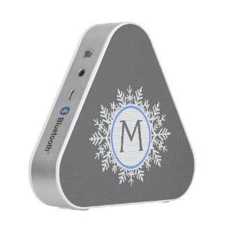 Ornate White Bright Blue Snowflake Monogram Gray Speaker