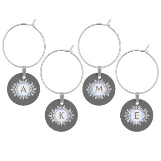Ornate White Bright Blue Snowflake Monogram Gray Wine Charm