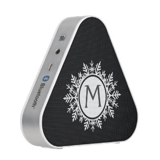 Ornate White Snowflake Monogram on Black