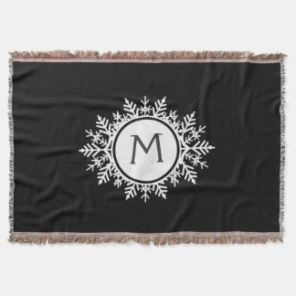 Ornate White Snowflake Monogram on Black Throw Blanket