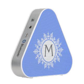 Ornate White Snowflake Monogram on Bright Blue