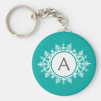 Ornate White Snowflake Monogram on Bright Teal Key Ring