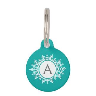 Ornate White Snowflake Monogram on Bright Teal Pet ID Tag
