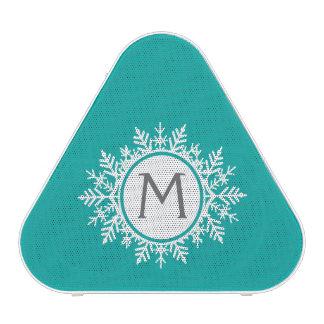 Ornate White Snowflake Monogram on Bright Teal