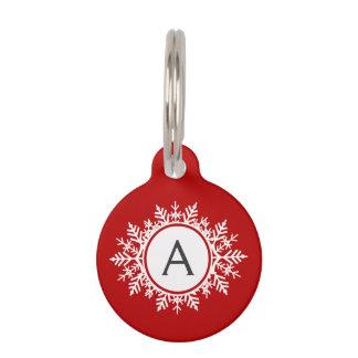Ornate White Snowflake Monogram on Festive Red Pet Name Tag