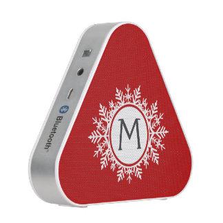 Ornate White Snowflake Monogram on Festive Red