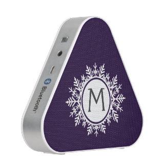 Ornate White Snowflake Monogram on Purple