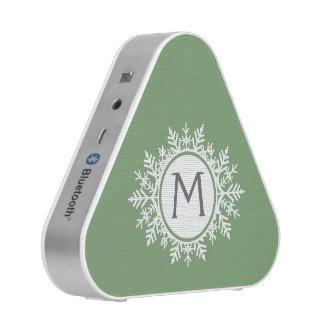 Ornate White Snowflake Monogram on Sage Green