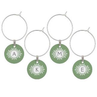 Ornate White Snowflake Monogram on Sage Green Wine Charm