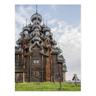 Ornate wooden church, Russia Postcard