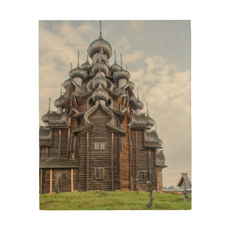 Ornate wooden church, Russia Wood Canvas