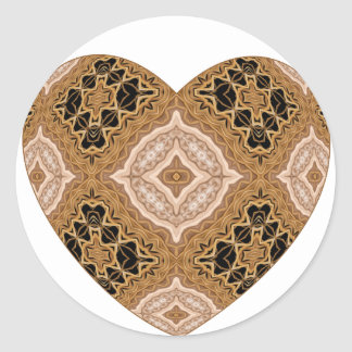 Ornate Woven Golden Heart Round Sticker