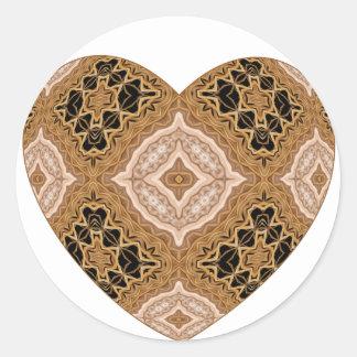 Ornate Woven Golden Heart Classic Round Sticker
