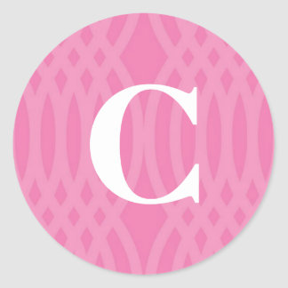 Ornate Woven Monogram - Letter C Round Sticker